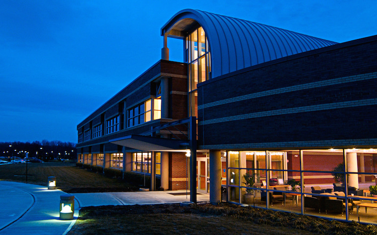 early evening view of Stryker Orthopaedics corporate facility in Mahwah, NJ